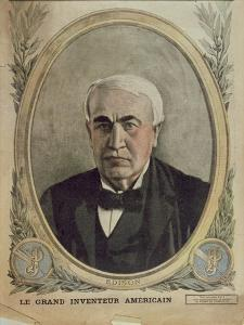Cover Illustration of 'Le Petit Journal' Depicting Thomas Alva Edison, 1917 by French School