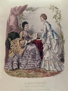 Fashion Plate Showing Ladies in Dresses Designed by Mme Breant-Castel and Looking at Photo Albums by French School