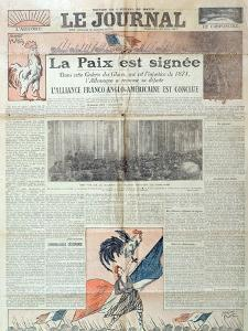 Front Page of 'Le Journal' Celebrating the Signing of the Treaty of Versailles on 28th June 1919,… by French School
