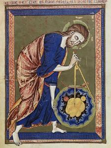God, the Divine Architect Illumination from Bible moralisée, Codex Vindobonensis 2554 by French School