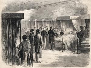 Hotel Dieu, Paris, France : Napoleon III visiting the sufferers of cholera in 1865 by French School