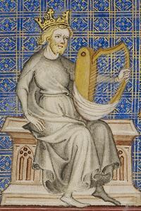 King David from the Bible Historiale, c.1360-70 by French School