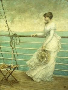 Lady on the Deck of a Ship by French School