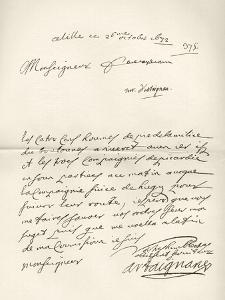 Letter from d'Artagnan to Louvois Concerning a Military Matter, Dated 1672, from 'Memoires de… by French School