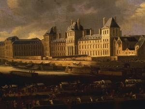 Louvre and Stalls on Pont Neuf, from Paris, France, Seen from the Pont Neuf, C. 1660 by French School