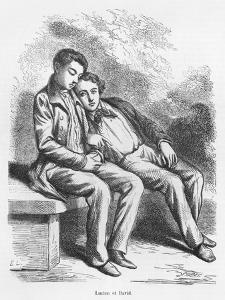 Lucien De Rubempre and David Sechard, Illustration from 'Les Illusions Perdues' by Honore De Balzac by French School