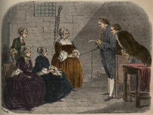 Madam Calas, with her two daughters, listens to the verdict of the trial of her husband by French School