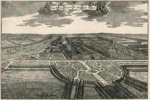Map of the Royal domain of Hampton court, showing the avenues in the park by French School