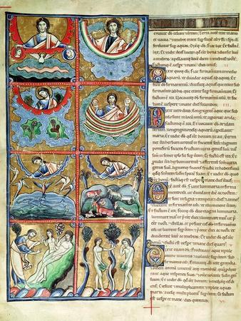 Ms 1 f.4v The Creation of the World, from the Souvigny Bible