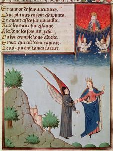 Ms 3045 Fol.94R Lady Philosophy Leads Boethius in Flight into the Sky on the Wings by French School
