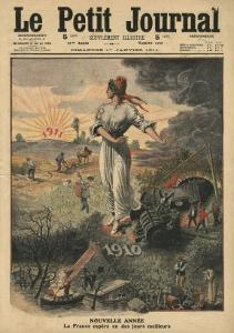 New Year, France Hopes for Better Days, Illustration from 'Le Petit Journal', 1st January 1911 by French School