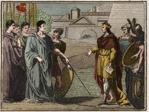 Numa Pompilius, legendary second king of Rome returns the sacred shield to the priests of Mars by French School