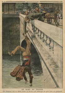 On the Brink of Suicide, Illustration from 'Le Petit Journal', Supplement Illustre, 19th June 1910 by French School