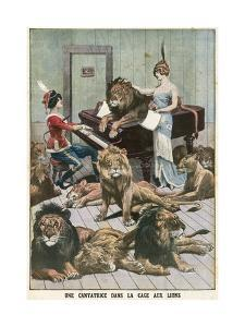 Opera Singer in a Lion Cage by French School