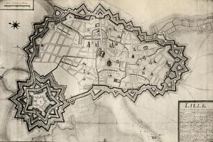 Plan and Fortifications of Lille around 1670, from 'Memoires de Charles de Batz-Castelmore Comte… by French School
