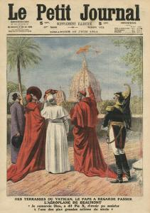 Pope Pius X Watching the Airplane of Andre Beaumont Flying over Rome from the Vatican Terrace by French School