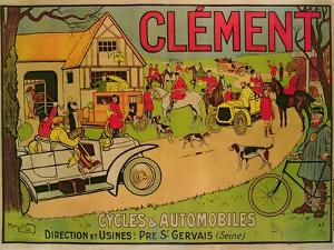 Poster Advertising 'Cycles and Motorcars Clement', Pre Saint-Gervais, 1906 by French School