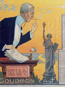 Publicity Calendar for the Cigarette Paper Manufacturer 'Rizla', Depicting President Woodrow Wilson by French School