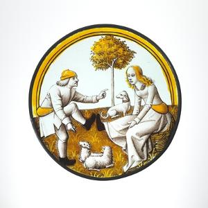 Roundel with Couple Playing at Quintain, c.1500 by French School