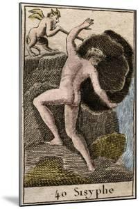 Sisyphus, illustration from 'Mythologie de la Jeunesse', 1803 by French School