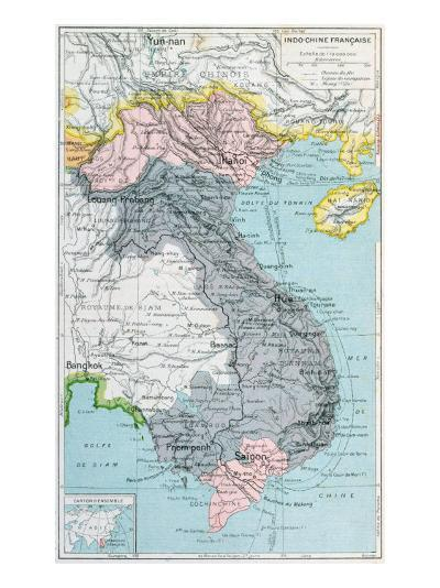 French School Textbook Map of Indochina, 1905--Giclee Print
