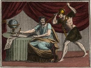 The death of Archimedes during the capture of Syracuse, Sicily, by Roman soldiers in 212 BC by French School
