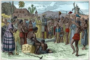 The emancipation of slaves on a West Indian plantation, early 19th century c1895 by French School
