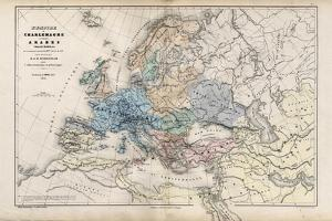 The Empire of Charlemagne, from 'Atlas Historique et Pittoresque', by M J-H Schnitzler, 1857 by French School