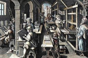 The printing of books (Printing office) by French School