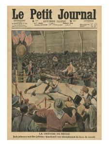 The Victory of the Negro, Jack Johnson Knocks Jim Jeffries Out at the World Boxing Championship by French School