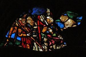 The West Rose Window Depicting a Scene from the Book of Revelation: Four Angels of the Euphrates… by French School