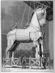 The Wooden Horse from the Opera of 'Les Troyens', by Hector Berlioz, 1898 (litho) by French School