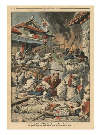 Unrest in Seoul, Korea, Illustration from 'Le Petit Journal', Supplement Illustre, 4th August 1907