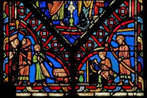 Window W0 Depicting Five Artisan Donors by French School