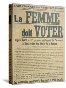 'Women Must Vote', Poster Encouraging Women to Fight for Voting Rights, 1914 by French School