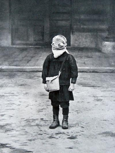 French Schoolboy Wearing a Gas Mask, 1916--Photographic Print