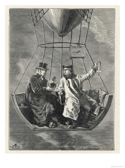 French Scientists Gay-Lussac and Biot Conduct Scientific Observations in a Balloon--Giclee Print