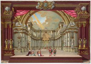 Set Design for the Theatre at Versailles (Colour Litho) by French