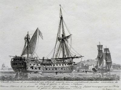 French Ship with 74 Guns with its Mainmast Destroyed, France, 18th Century--Giclee Print