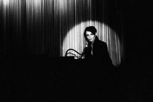 French Singer Barbara Onstage in a Cabaret, Paris 1971