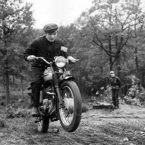 French Singer Ricet Barrier (Maurice-Pierre Barrier) on a Moto April 1965