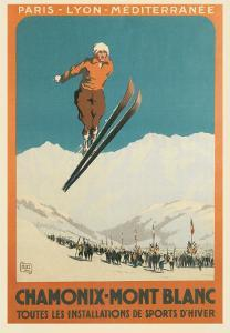 French Ski Poster with Ski Jumper