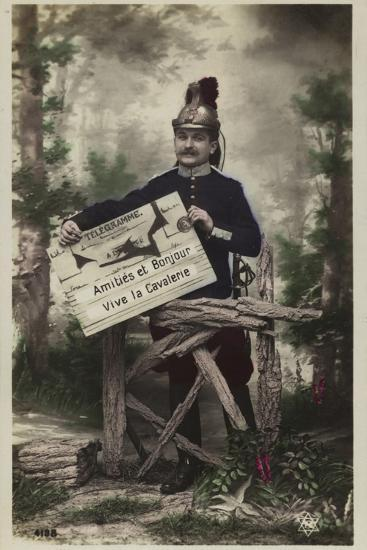 French Soldier, Holding Telegram--Photographic Print
