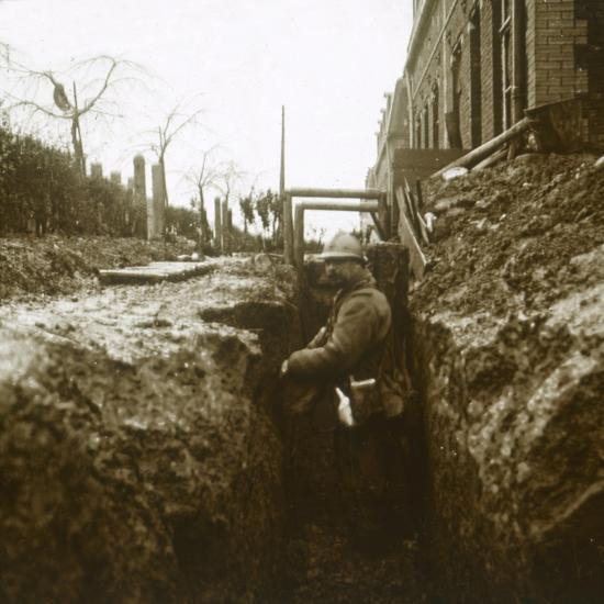 French soldier in trenches, c1914-c1918-Unknown-Photographic Print