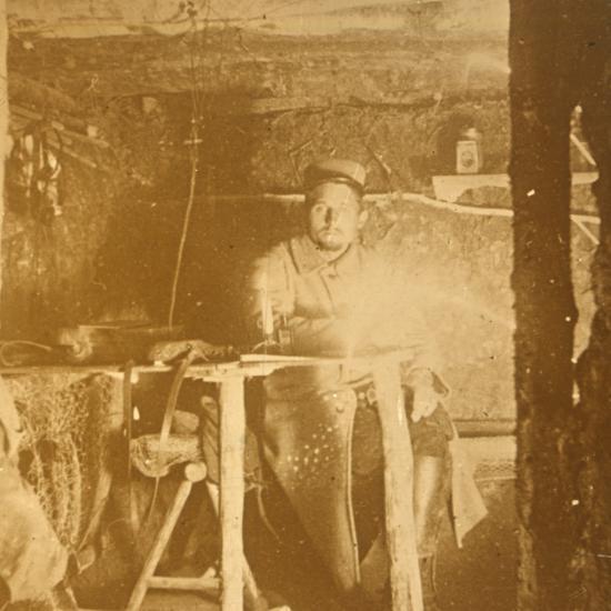 French soldier underground, c1914-c1918-Unknown-Photographic Print