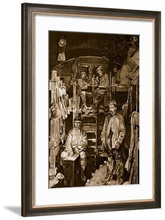 French Soldiers in the Sleeping Cabin of a Bomb-Proof Casement in Recaptured Vaux Fort--Framed Giclee Print