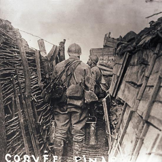 French soldiers on cooking duty in a trench, c1914-c1918-Unknown-Photographic Print