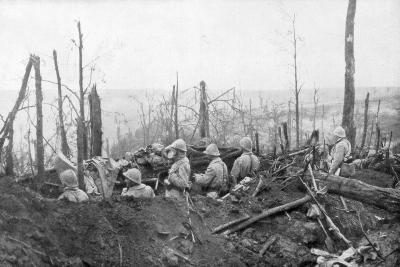 French Soldiers Overlooking German Positions, Battle of Malmaison, 1917--Giclee Print