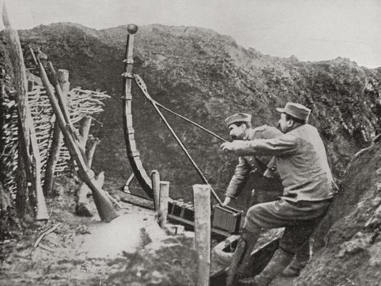 French Soldiers Using a Catapult for Flinging Bombs During World War One--Giclee Print