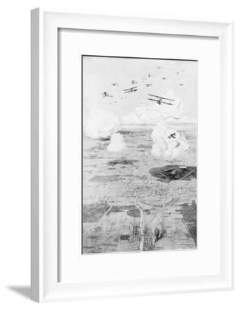 French Squadron on the Objective; Factories at the Edge of a River, 1918-Etienne Cournault-Framed Giclee Print